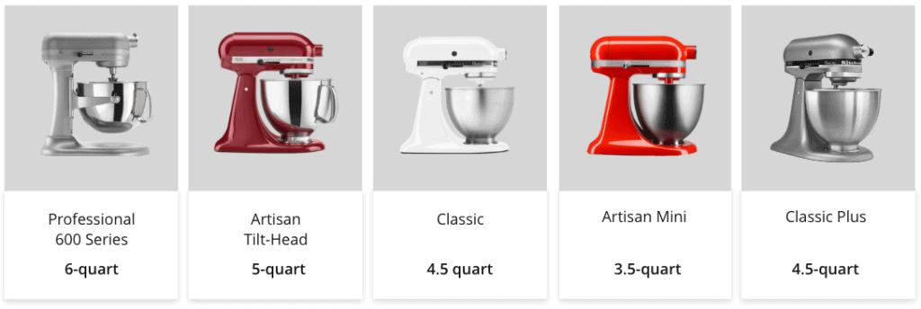 KitchenAid Mixers Sizes and Models